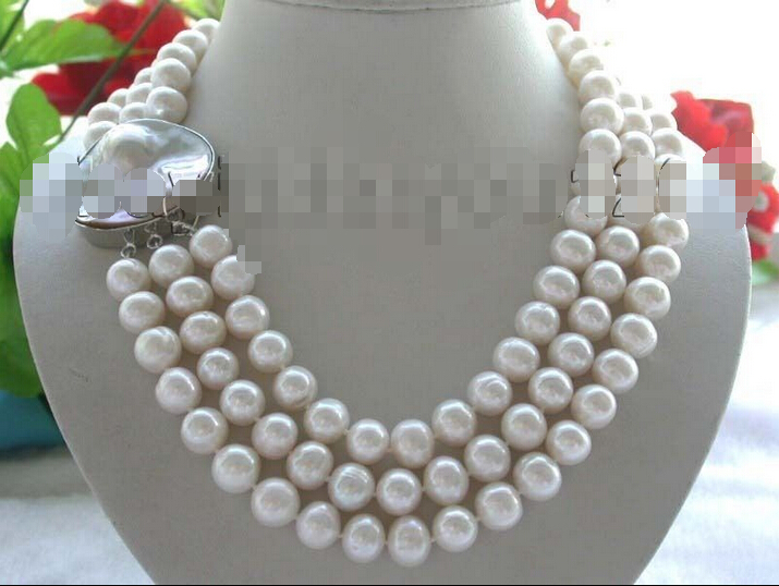 FREE SHIPPING>>>@@ > 3rows 20 Genuine Natural 12mm Rould white Pearl Necklace mabe clasp!^^^@^Noble style Natural Fine jewe &FREE SHIPPING>>>@@ > 3rows 20 Genuine Natural 12mm Rould white Pearl Necklace mabe clasp!^^^@^Noble style Natural Fine jewe &