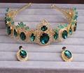Moda crystal Rhinestone de la vendimia joya barroca de la novia cintas para el pelo accesorios para el cabello cintas para el pelo accesorios nupciales azules mujeres tiara