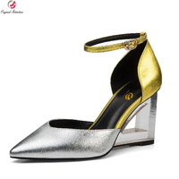 Super Stylish Women Sandals Genuine Leather Sexy Pointed Toe Strange Style Heels Sandals Green Red Gold