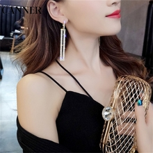 CANNER Fashion Long Geometric Drop Earrings Luxury Gold Silver Color Rectangle CZ Earring for Women Party Jewelry Gift R4 цена и фото