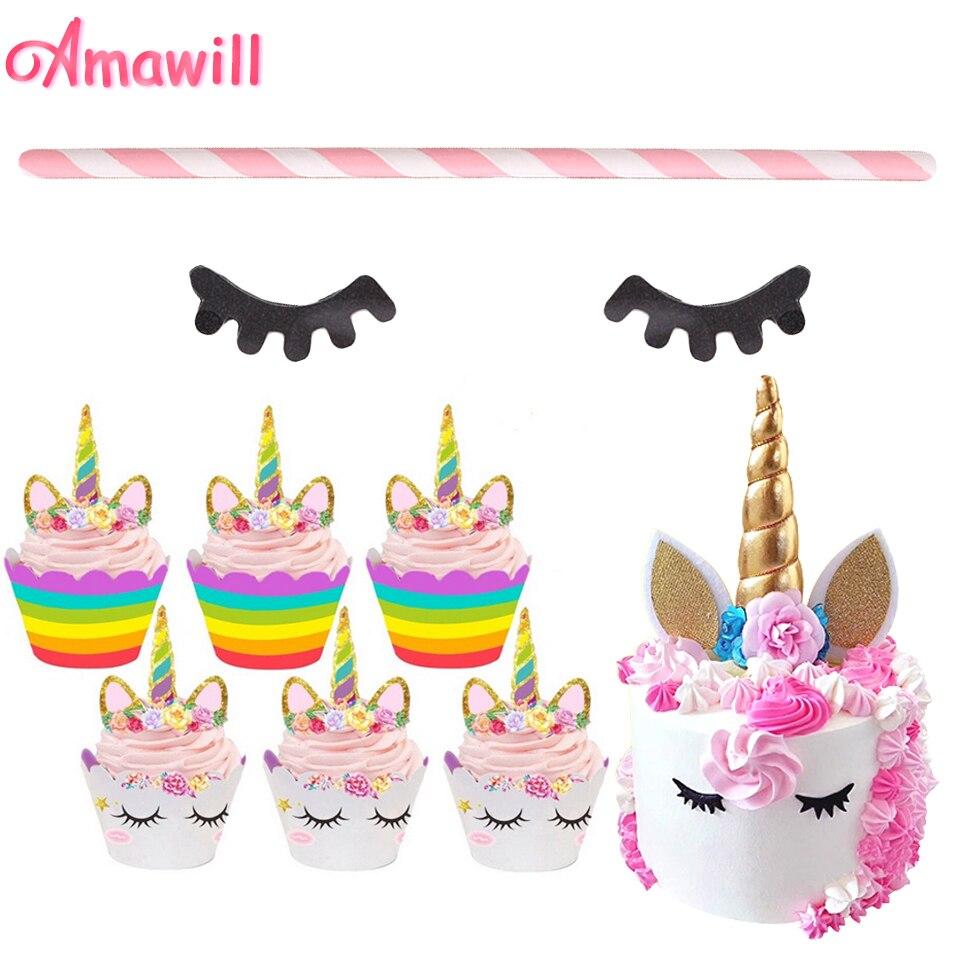 Amawill Unicorn Cake Topper Unicorn Eyelash Paper Straw ...