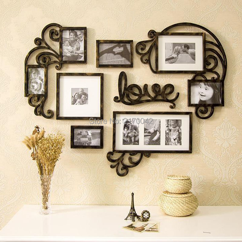 vintage heart shaped wall photo frames for picture collage wall frame creative combination carved unique