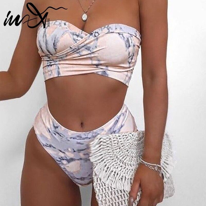 In-X High waist swimsuit female Sexy cross bikini 2019 Bandeau swimwear women swimsuit Strapless bathing suit Summer beach wear