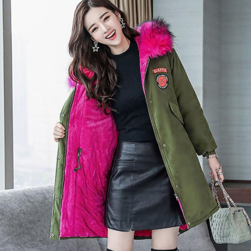 цены 2018 New winter woman Big fur collar hooded coat thicker Lined parkas warm winter jacket outwear S1398