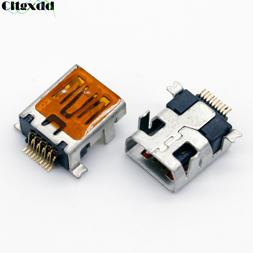 cltgxdd <font><b>10</b></font>~100pcs Female <font><b>Mini</b></font> <font><b>USB</b></font> jack socket <font><b>connector</b></font> Type B <font><b>10</b></font> <font><b>Pin</b></font> SMT SMD DIP V3 port for mobile phone etc,long type image