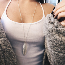 RE Simple Classic Pendant Necklaces Feather Necklace Long Sweater Chain Statement Jewelry Choker Necklace for Women Leaf Chocker цена