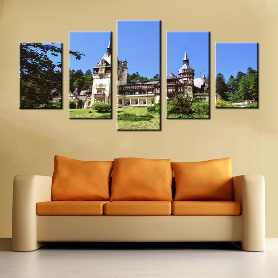 European style Castles in the Forest Wall Art 5 Panels Artwork ...