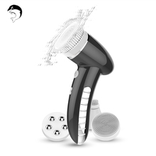 Facial Cleansing Brush Sonic Vibration Mini Face Cleaner Silicone Deep Pore Cleaning Electric Waterproof Massage with 4 Heads