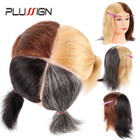 Four Color Traning Head Human Hair 10 Short Mannequin Head For Hairfresser Dye And Bleach Color Doll Head Black Brown Gray 613#