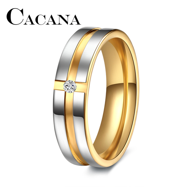 CACANA Titanium Stainless Steel Rings Wedding Rings for Women Cubic Zirconia Men