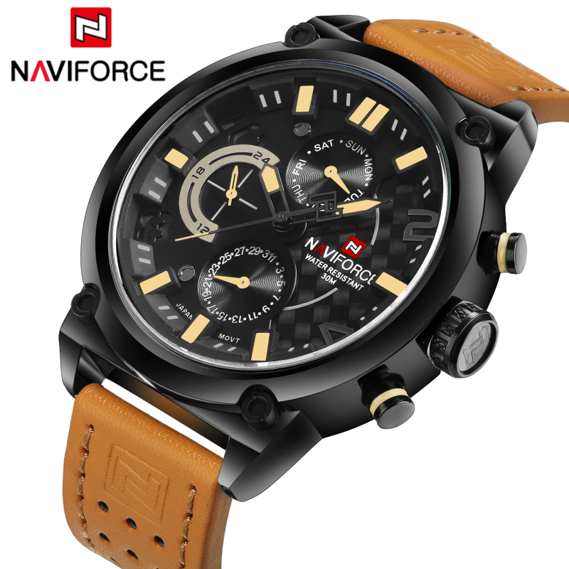 NAVIFORCE Fashion Leather Men's Quartz Watch 24 Hours Date Waterproof Military Sport Wrist Watches Men Army Relogio Masculino army military men sport watch relogio masculino valia brand leather waterproof date day hours quartz clock mens watches