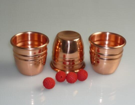 Super Professional Brass Three Cups and Balls With Chop Cup (Large) Magic Tricks Magician Close Up Illusion Gimmick Props nick lewin s ultimate electric chair and paper balls over head magic tricks