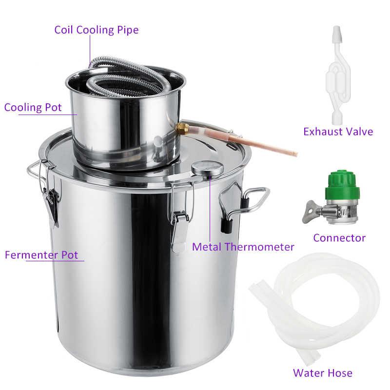 3/5/8GAL Distiller Moonshine Alcohol Distiller Stainless Steel DIY Home Water Wine Essential Oil Brewing Kit