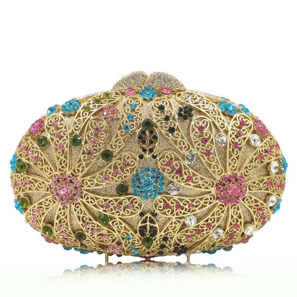 De Cadeaux Color Main Métal Diamant Sac Mariée D'embrayage As En Femmes Fleur À Or color Cristal Embrayages Pictur Minaudière Soirée Same Pictur Mariage qaCn80