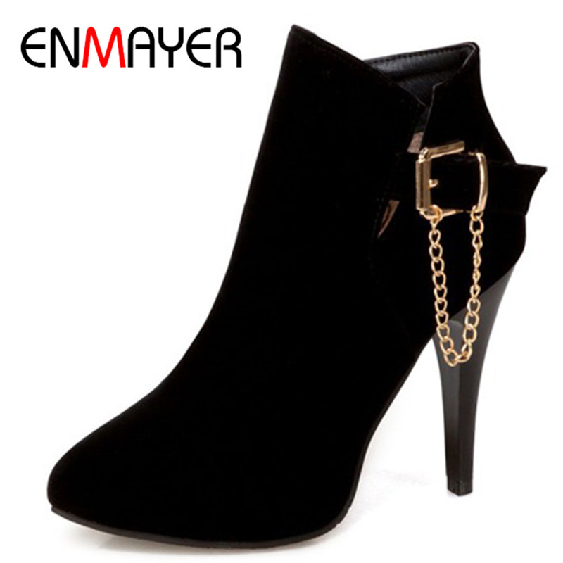 ENMAYER Black Blue Boots Shoes Woman Zippers Spring&Autumn Women Boots Western Ankle Boots for Women Plus Size 34-43 High Heels