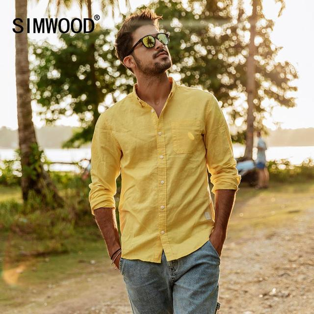 SIMWOOD 2020 spring summer new pure linen cotton shirts men cool Breathable classic basic shirt male high quality  190125