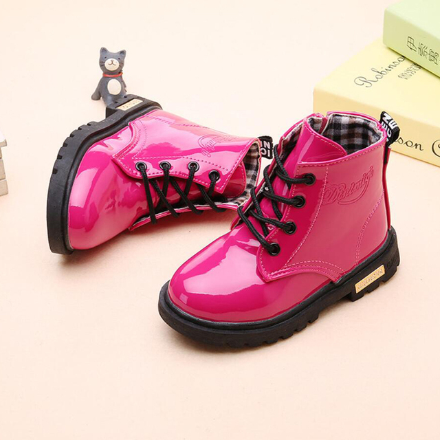 feed0662de7 US $6.98 35% OFF|2018 Winter New Children Shoes PU leather Waterproof  Martin Boots for boys girls Hot sale Rubber Fashion Snow boots kids  sneaker-in ...