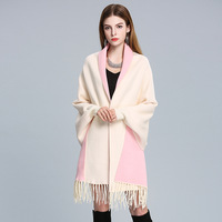Women's Elegant Loose Tassel Bat Sleeve Autumn Winter Cashmere Knitted Cardigan Sweater Scarf Cape Outwear;21 Colour