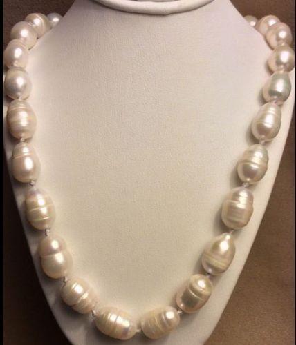 100% Venta de Imagen completa elegant13-14mm barroco mar del sur natural blanco perla collar de 18 pulgadas