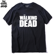 THE COOLMIND Cotton twd the walking dead printed men t-shirt short sleeve casual men's T shirt o-neck tee shirts(China)