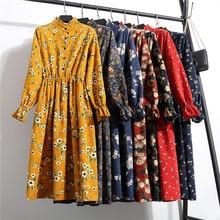 c213fcd458 Novas Mulheres Vestidos de Mid-calf Fique Mandarim Collar Manga Comprida  Floral Imprimir Étnico Estilo