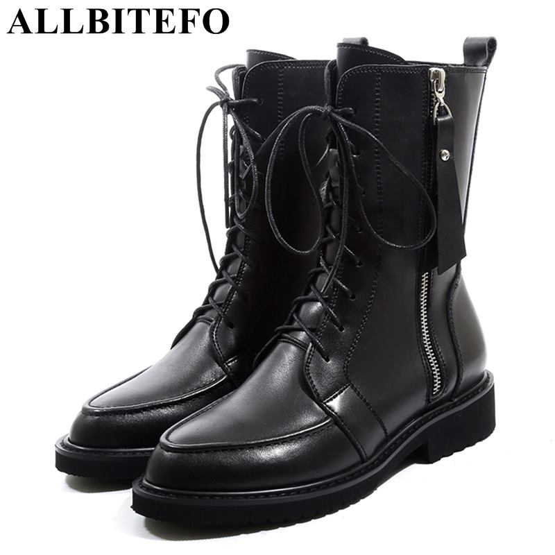ALLBITEFO natural genuine leather thick heel women boots Metal zipper high heels winter motorcycle boots girls