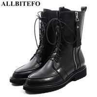 ALLBITEFO natural genuine leather thick heel women boots Metal zipper high heels winter motorcycle boots girls ankle boots women