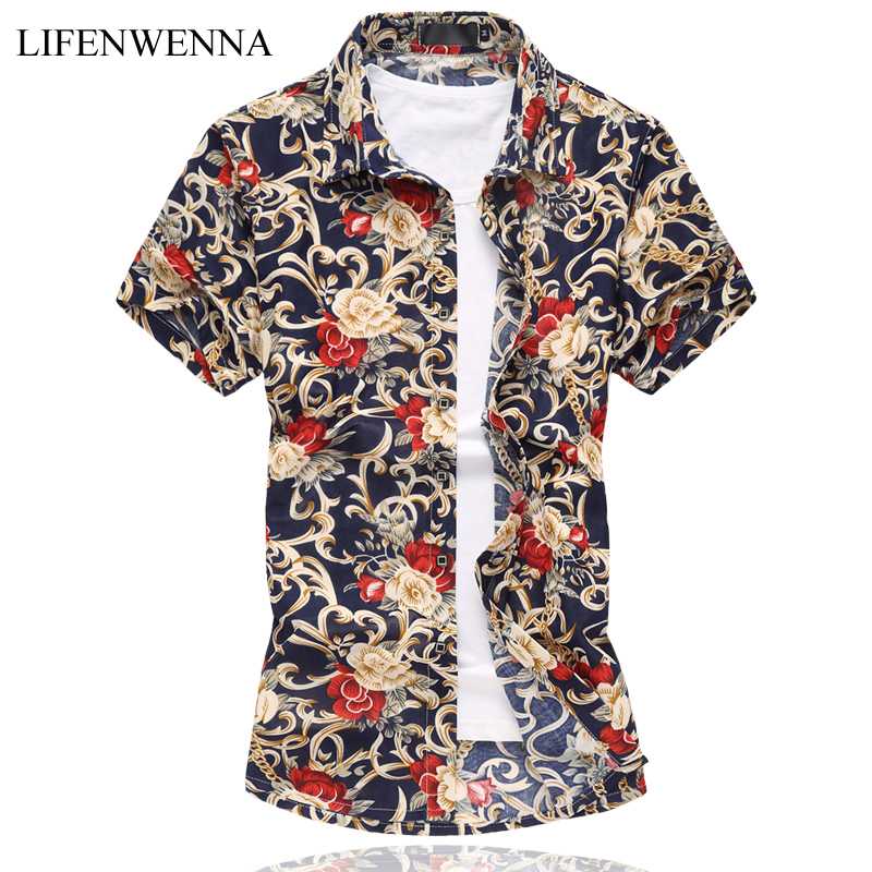 M-6XL 망 꽃 셔츠 2019 여름 짧은 소매 셔츠 고품질 Mercerized면 셔츠 플러스 크기 캐주얼 슬림 맞는 셔츠 남자