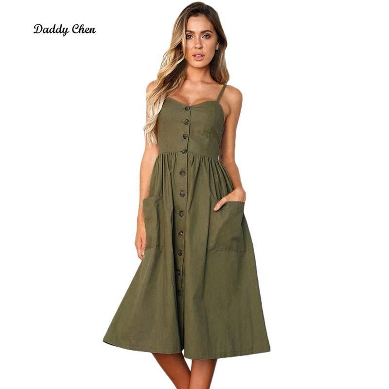 Sexy Spaghetti Strap Floral Printed Dress Boho Midi Dress Women Female Vestidos Buttons Pockets Sundress Print Plus Size
