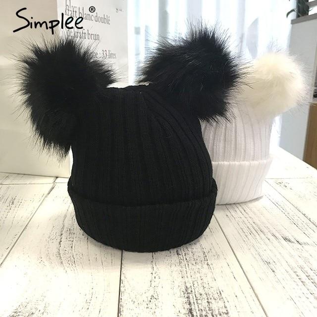 f7ea0653853d5 Simplee Winter fur pompom knitted hat cap Women elegant autumn white skullies  beanies Casual streetwear warm female black cap