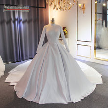 Elegant high neckline satin mustlim wedding dress 2019 with long train