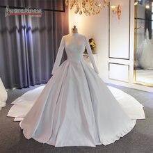 Vestido de novia mustlim de satén de cuello alto con tren largo, elegante, 2019