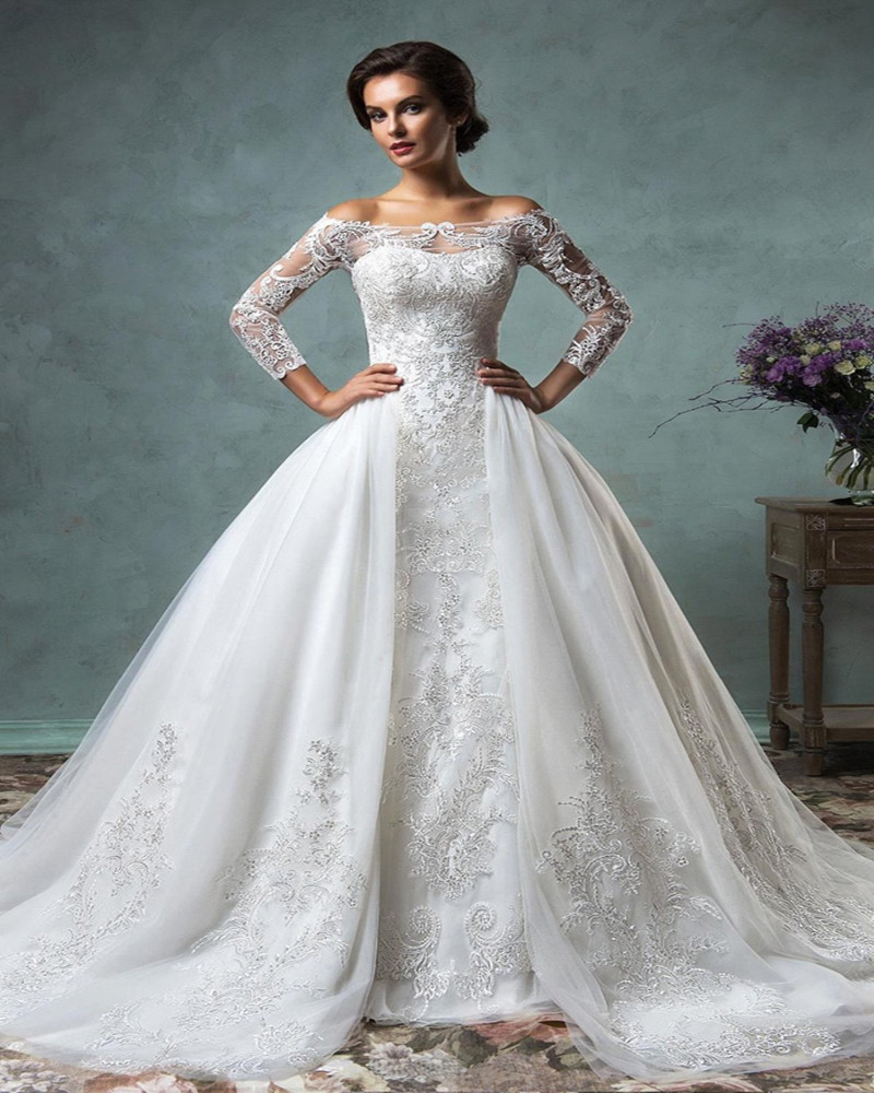 Removable Wedding Gown Dress: Luxury Long Sleeve Lace Mermaid Detachable Skirt Wedding