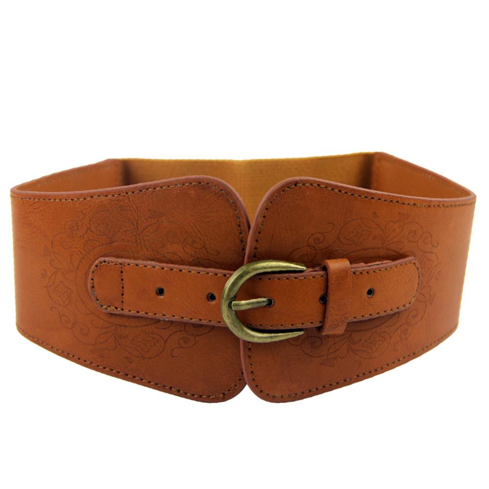 New Fashion Elastic Wide Belt Strap Vintage Women Faux Leather Buckle Elastic Wide Belt Strap Solid Color Waistband