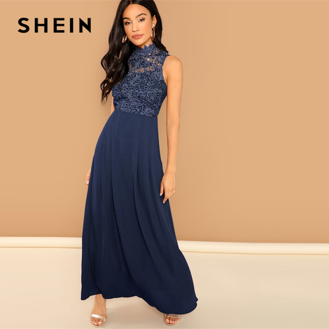 b6345637db SHEIN Party Navy Guipure Lace Overlay Bodice Stand Collar Maxi Sleeveless Dress  Women 2019 Spring Sleeveless High Waist Dresses