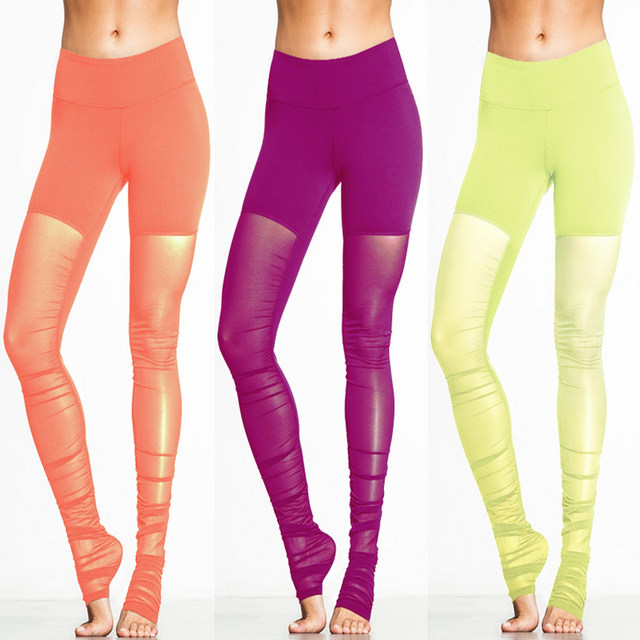 Femmes Translucide Leggings De Sucrerie-couleur couture Sport Collants  Running Fitness Maigre Maille Yoga Pantalon 2bffa995409