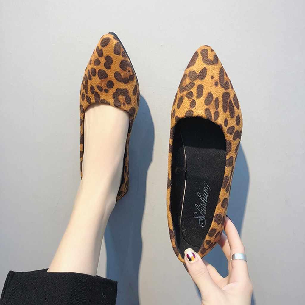 2019 Nieuwe Mode Luipaard enkele schoenen voor vrouwen Dames Flock Ondiepe Enkele Platte Puntige Teen Casual Schoenen wees teen flats