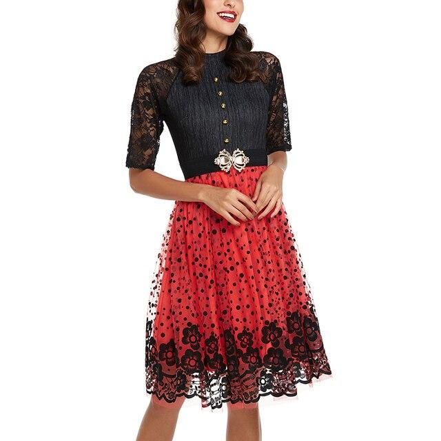 b68441ee79 Sukienka w stylu vintage Kobiety Koronka Hollow Out Mesh Elegancki Lato  Midi Sukienki Na Co Dzień
