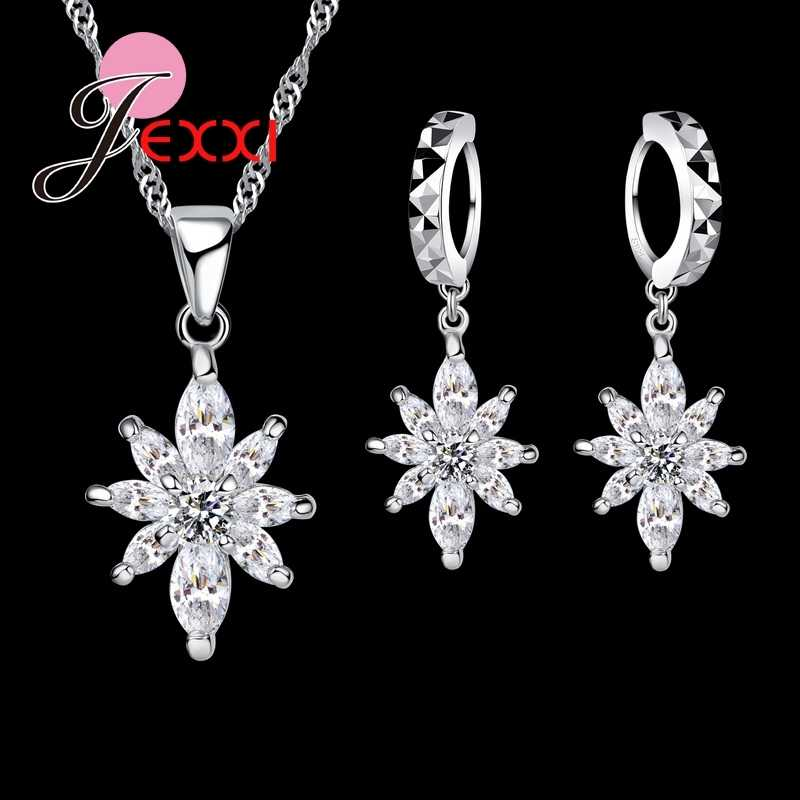 Top Quality New Attractive Flower Shape Jewelry Sets For Women 925 Sterling Silver Jewelry Pendant Necklace Earrings Jewelry Set