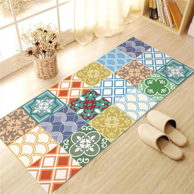 Morocco Style Colorful 3d Anti Skid Flooring Sticker Simulation Tiles Paste Living Room Bathroom