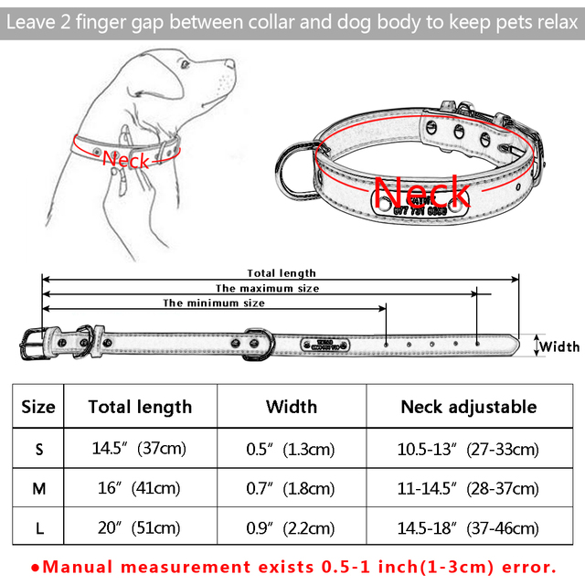 PU Leather Dog Collar Durable Padded Personalized Pet ID Collars Customized for Small Medium Large Dogs Cat Red Black Brown 5