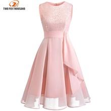 Christmas Vintage Lace Dresses Sleeveless Sexy Pink Party A-Line Chiffon Dresses Elegant Women Midi Vestidos Robe Femme