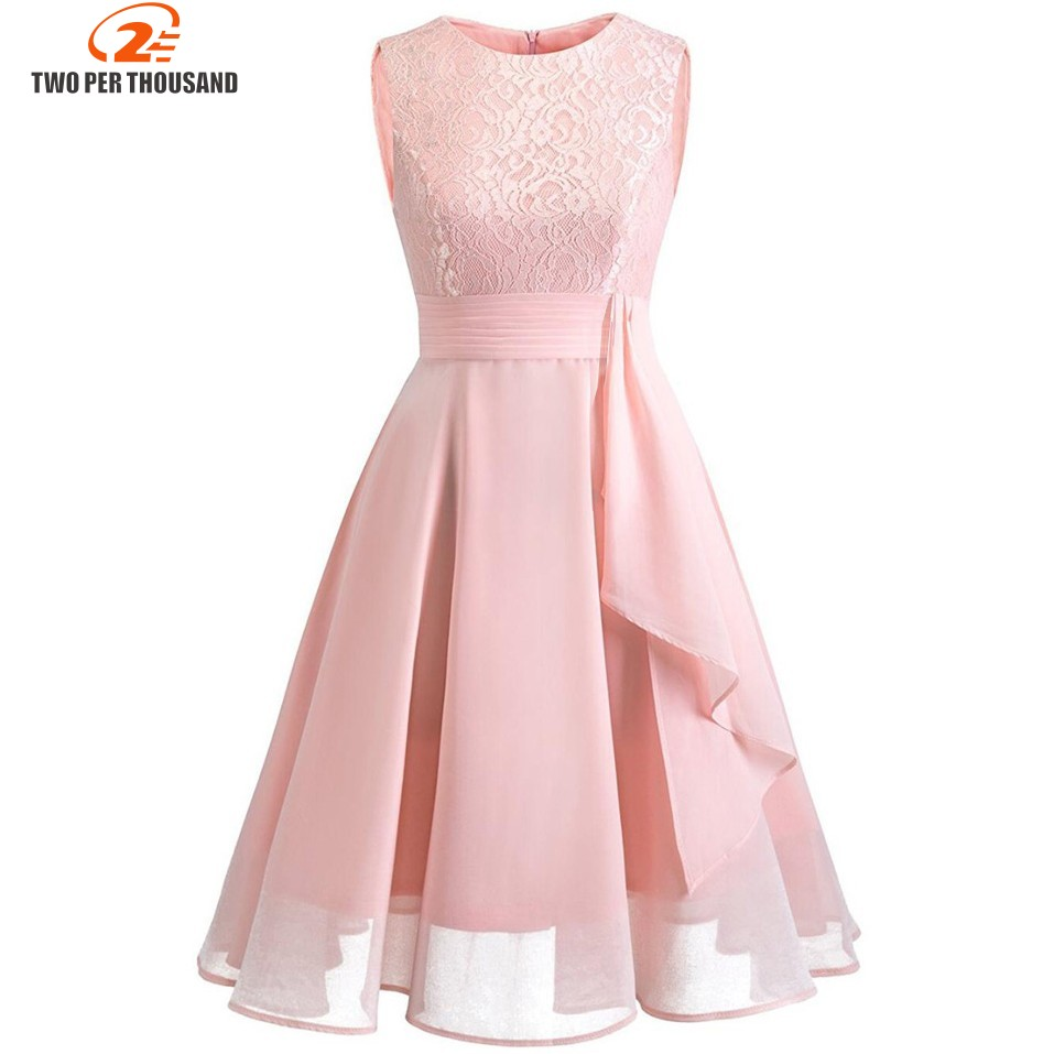 Christmas Vintage Lace Dresses Sleeveless Sexy Pink Party A-
