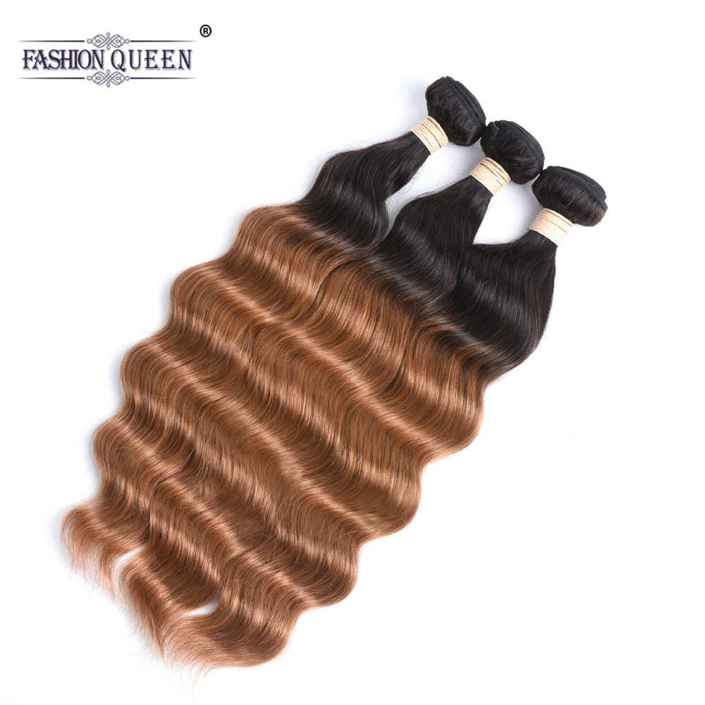 Ombre Indian Ocean Wave Hair 3PCS T1B/30 Non Remy Hair Weave Bundles 100% Human Hair Extensions Natural Wave Hair Weaving