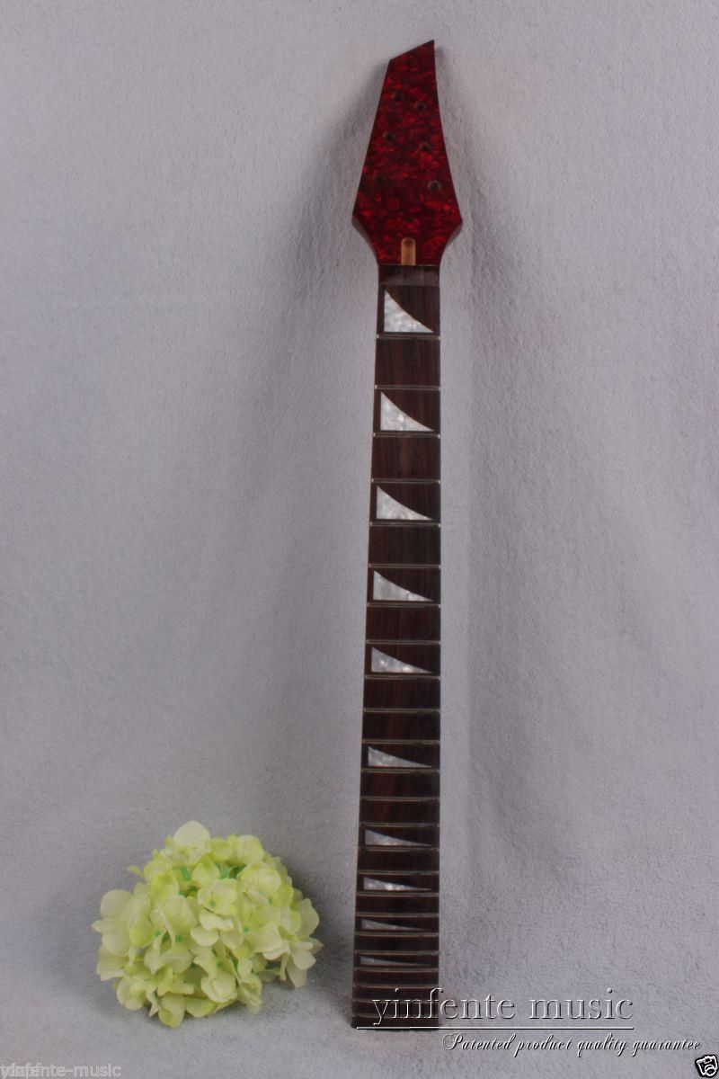 New electric guitar neck solid wood 24 fret 25.5'' rose wood Truss Rod red #754 new electric guitar neck maple 24 fret 25 5 truss rod unfinished no frets nice