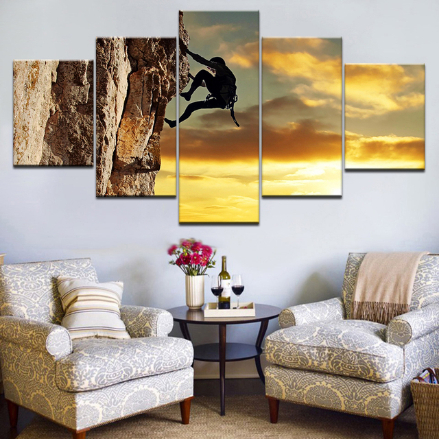 US $5 59 43% OFF|5Panel HD Printed Climbing Cliff sunset sky wall posters  Print On Canvas Art Painting For home living room decoration-in Painting &