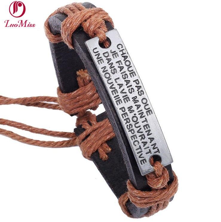 Fashion Alphabet English Bracelet wholesale Europe and America Style Weave Retro Leather Bangle Women