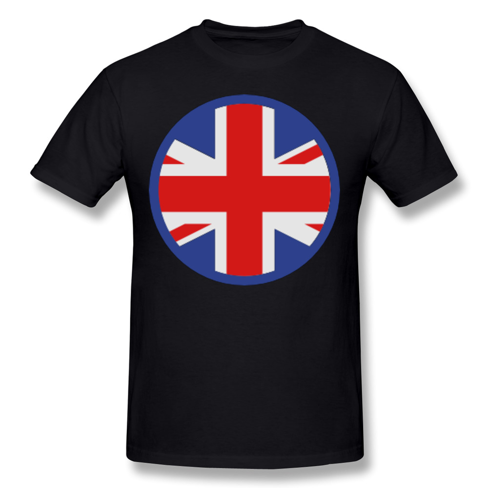 Circle UK Cotton Printing O-Neck Short Sleeve Mens T Shirts Fashion United Kingdom Flag Skateboard Black Tops