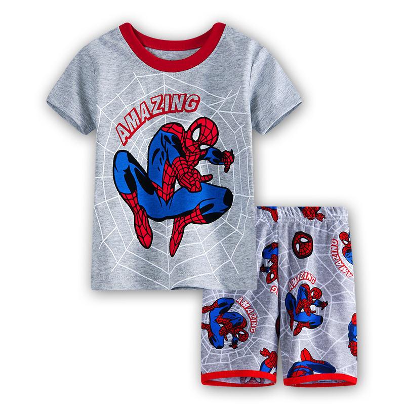 12 Kids Boys Girls Pajamas Cartoon Spider-Man Set Baby Sleepwear Cotton Superhero Costumes Shorts + Short Sleeve Tees Baby Clothing