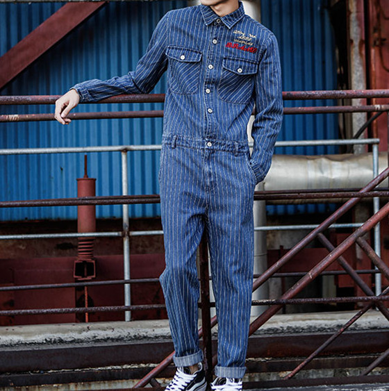 Jeans Jumpsuits Men Spring Autumn Long Sleeve One Piece Overalls Mens Denim Jumpsuit Rompers Striped Casual Street Male Clothes